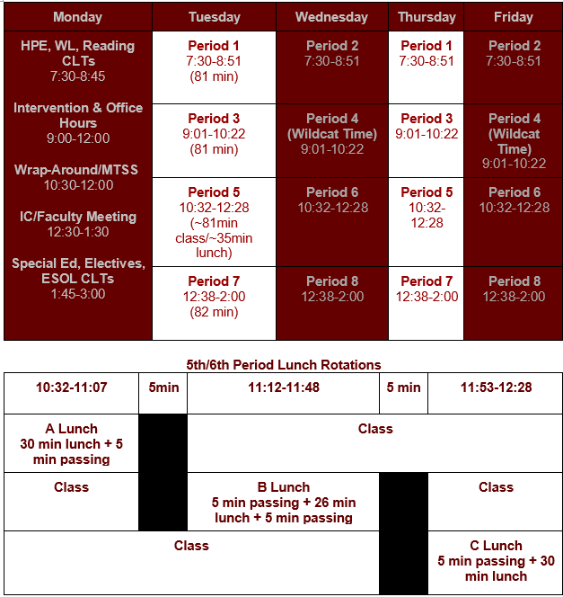 Middle School Schedule