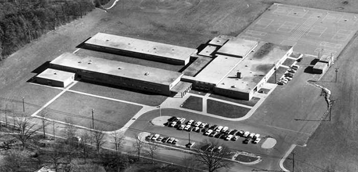 Black and white photo of aerial view of first Whitman Intermediate School, Circa 1960s